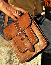 Load image into Gallery viewer, Leather Bag, Hand Stitched, Shoulder Purse, Crossbody Mini Messenger.