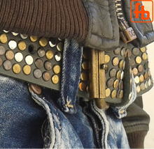 Load image into Gallery viewer, Leather Belt, 5 Rows of Hardcore Studs ... from buckle to tip!
