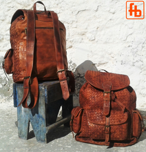 Load image into Gallery viewer, Backpack, Hand Plaited Leather, Luxury Flight Bag, Weekend Bag.