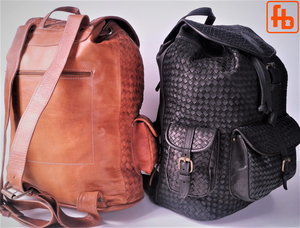 Backpack, Hand Plaited Leather, Luxury Flight Bag, Weekend Bag.