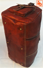 Load image into Gallery viewer, Travel Bag, Genuine Cowhide Luggage, Holdall, Gym Bag, Weekend Bag.