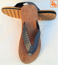 Load image into Gallery viewer, Gents' Plaited Leather FlipFlops, 'Triple Rubber Composite Sole'.
