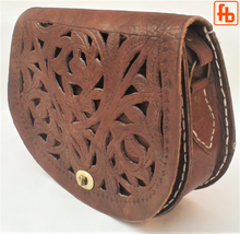 Load image into Gallery viewer, Handmade Saddle Bag. Genuine Cowhide, Hand Cut Fretwork or Studs?