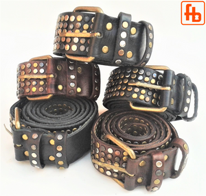Leather Belt, 5 Rows of Hardcore Studs ... from buckle to tip!