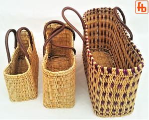 Beach Bag, Shopping Bag, Handwoven Straw with Leather Handles