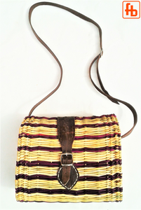 Straw Crossbody Bag with Buckle Fasten Leather Straps