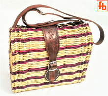 Load image into Gallery viewer, Straw Crossbody Bag with Buckle Fasten Leather Straps