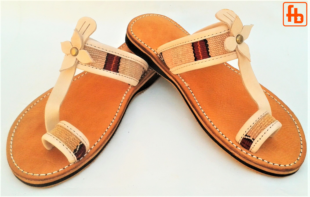 Ladies' Sandal, Kelim/Leather, 'Triple Rubber Composite Sole'