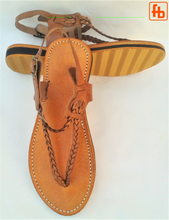 Load image into Gallery viewer, Ladies' Sandal, Plaited Leather Thong, 'Triple Rubber Composite Sole'
