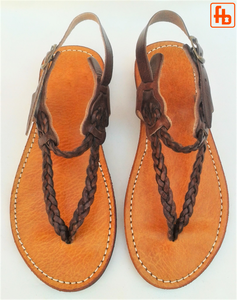 Ladies' Sandal, Plaited Leather Thong, 'Triple Rubber Composite Sole'