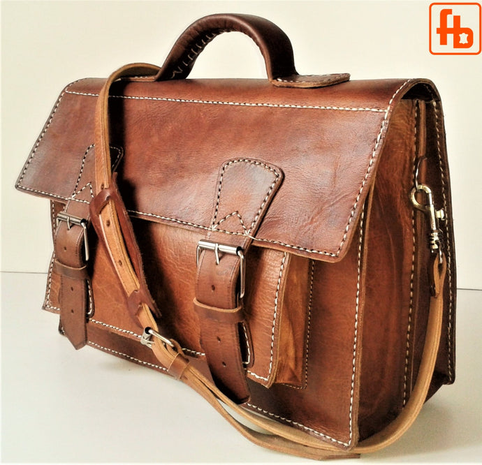 Vintage Style Satchel, Handcrafted, Genuine Leather, Computer Bag.