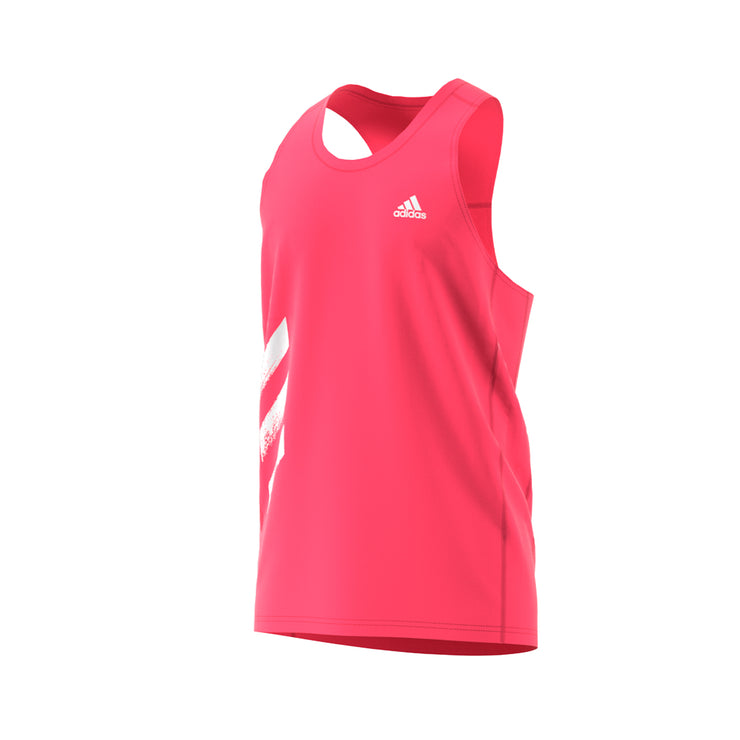 ADIDAS OWN THE RUN 3-STRIPES SINGLET