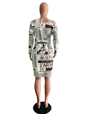 Women's off shoulder newspaper vintage Dress