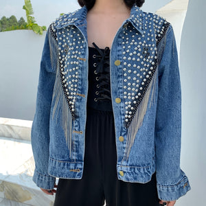 Women's  Denim Jacket Tassel Chains