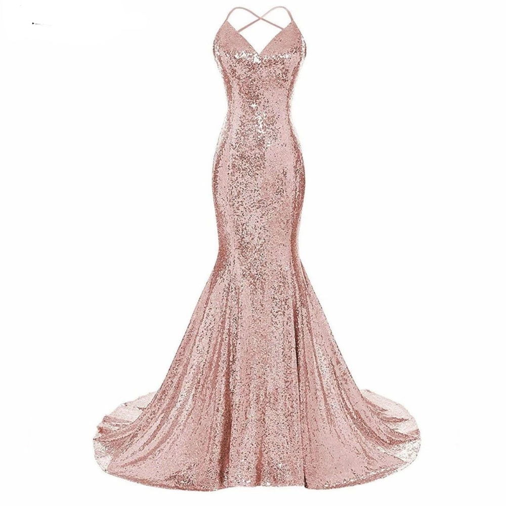 Rose Gold Sequined Mermaid Long Gown