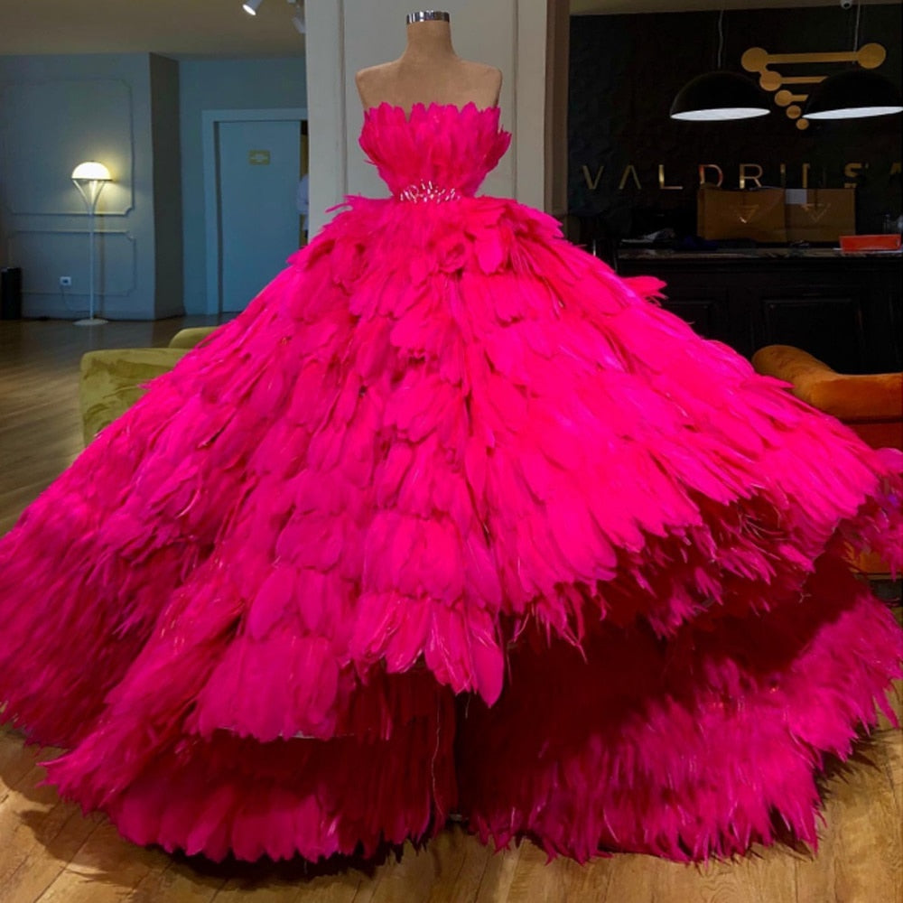 Women's Feather Ball Gown Celebrity Dress