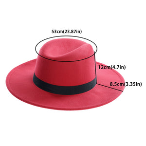 Women's  Black Red Fedora Hats