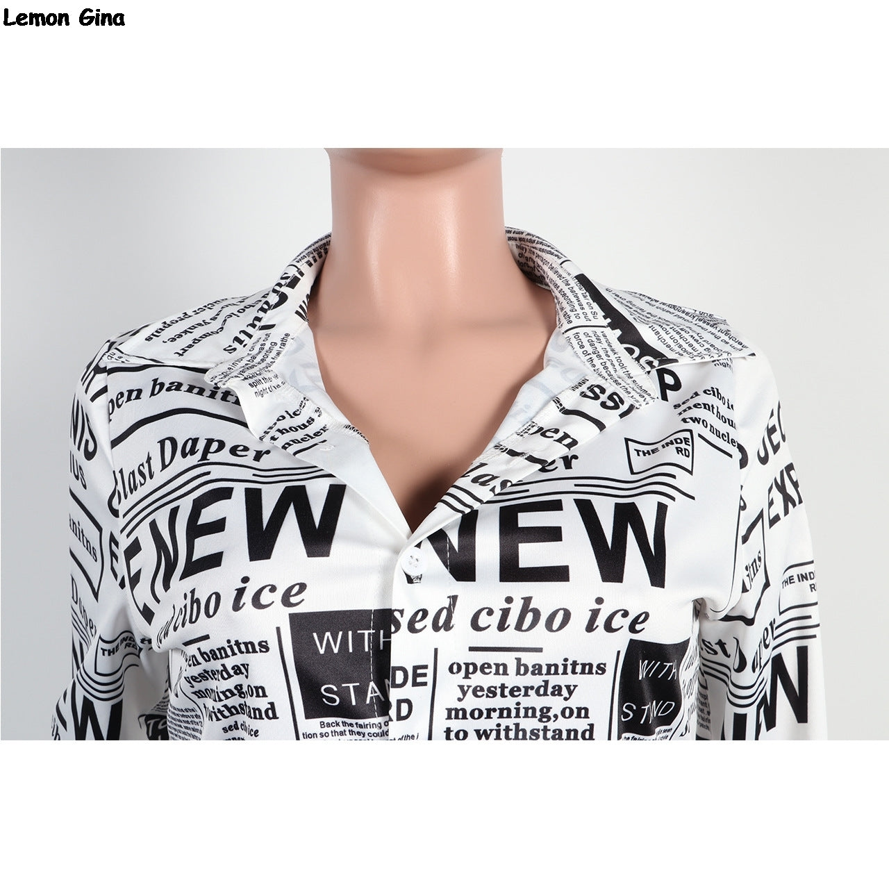 Women Newsletter print long sleeve blouses