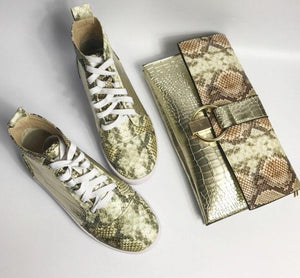 Leather Shoes With Match Handbag Sets  Sneaker Shoes