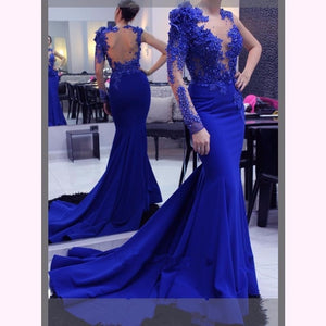 Backless Royal Blue Mermaid Gown