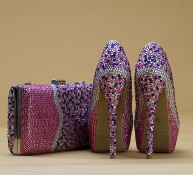 Multicolored  crystal shoes & bags