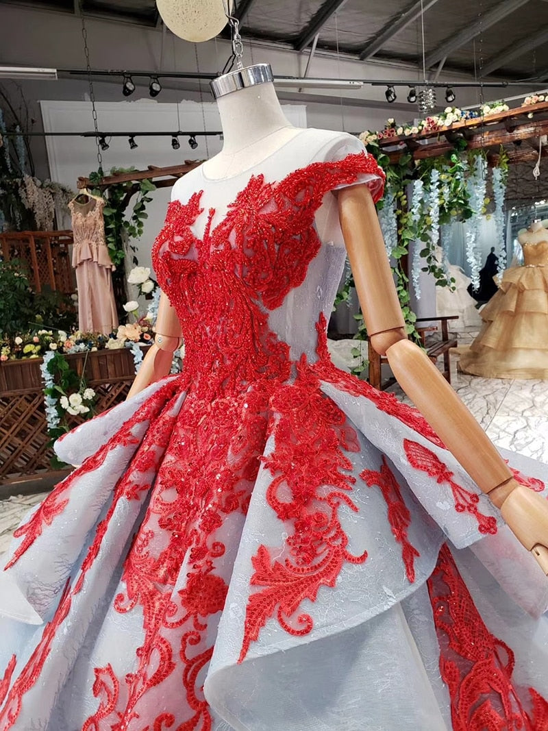 Red lace gala evening gown