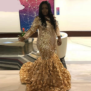 Fancy Lady Gold Sequin Gown