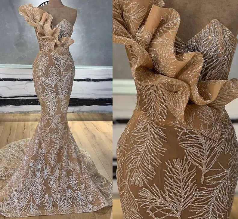 Mermaid Champagne Glitters  Gown