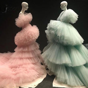 Mint Green Tiered & Ruffles Peach Gowns