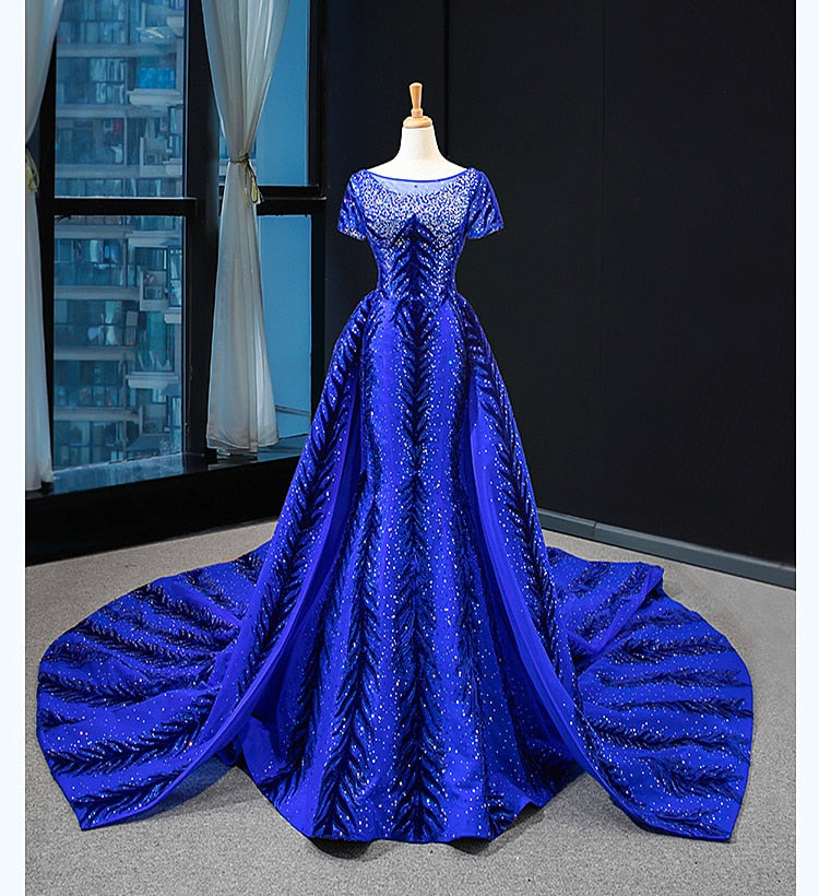 The Queen's  Royal Blue  Sequined  Gowns