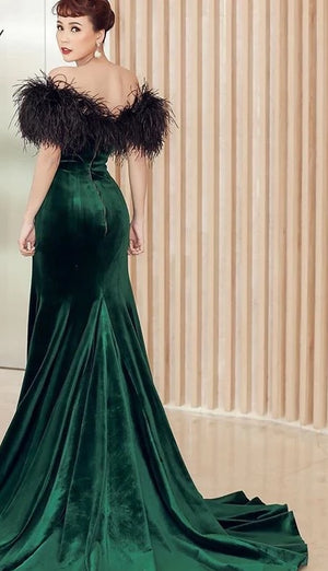 Vintage Feathers Velvet Mermaid Gowns