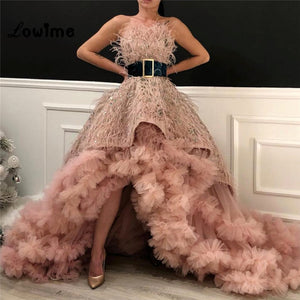 Pink Feather Evening Gown