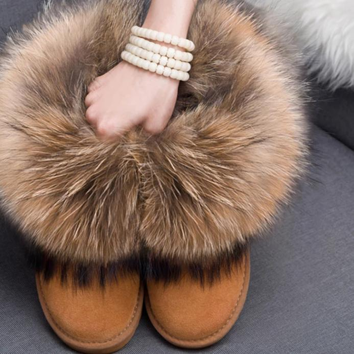 Women Leather Fox Fur Boots