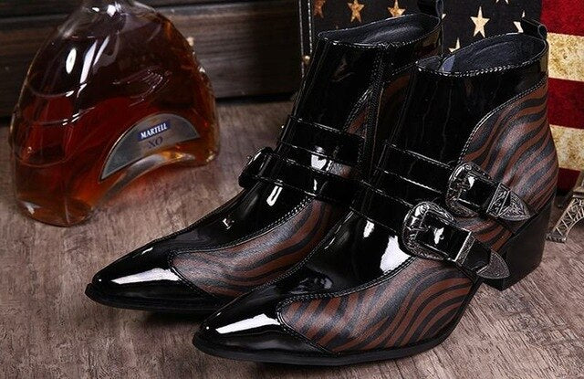 Men pointed toe  boots  genuine leather