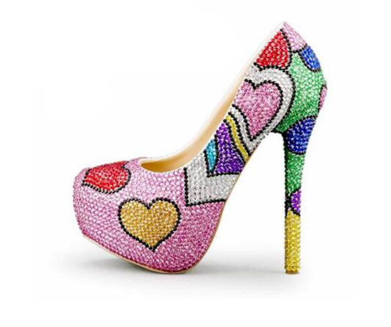 Women's Multicolored Crystal shoes & bags