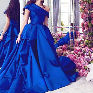 ThQueens evening gown  one shoulder ball gown  royal blue Dress