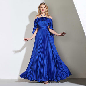 Royal Blue Celebrity  Pleated Gown