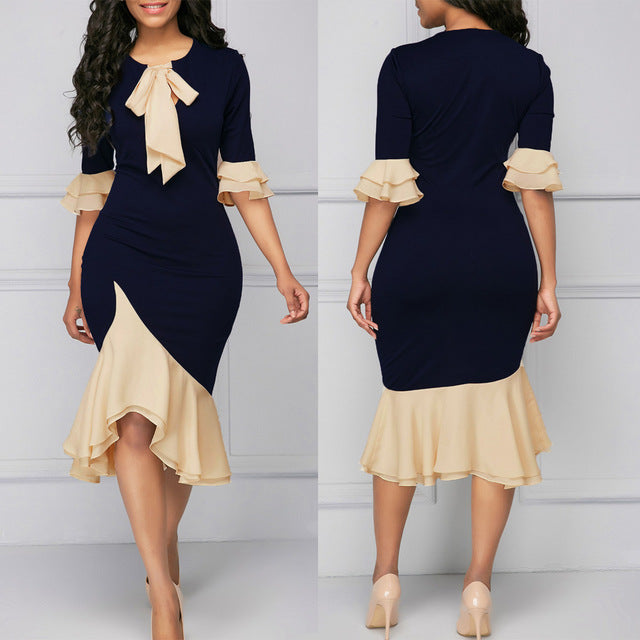 Women Dress Fashion Elegant Bow Ruffles Stitching Dress Blue
