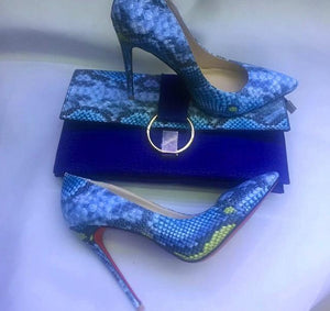 Snake Printed Leather shoe & Clutch
