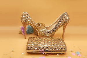 Women's Champagne crystal  shoes & bags