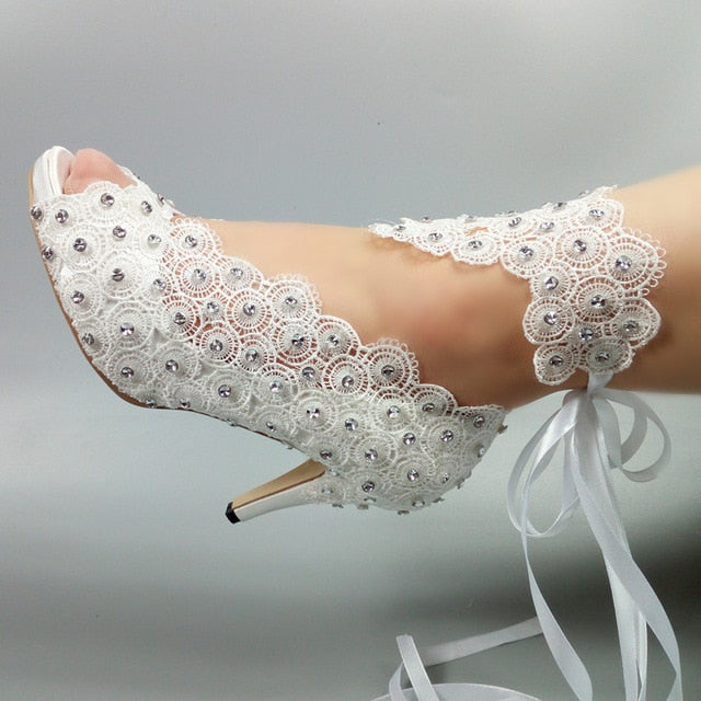 Women's  White Flower Lace-up  wedding shoes
