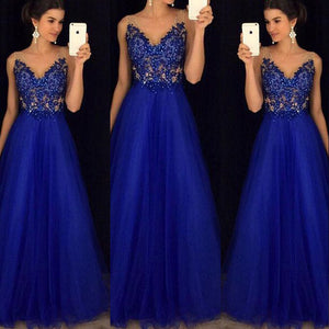 Women's Mesh Maxi Formal Wedding Evening Ball Gown Party Dress Sequined Blue Dresses  Gender: Women