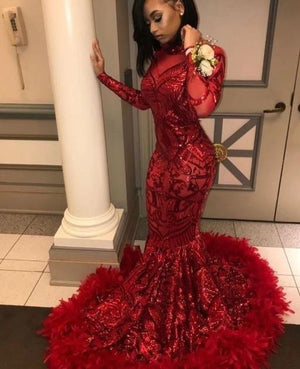Women's  Red Mermaid African Prom Dress