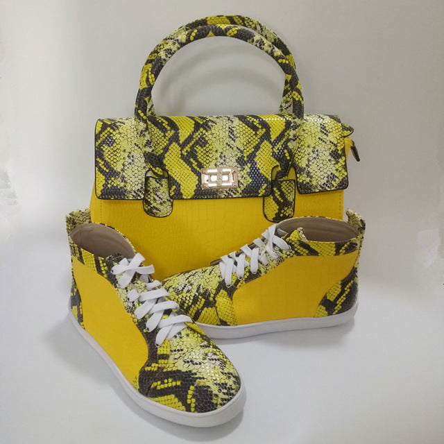 Women  Leather Shoes & Handbag Snake Leather Shoes With Handbag Sets