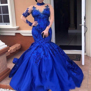 Women's  Evening   Royal Blue Evening Dress High Neck Long Sleeves Lace Appliques Evening Gowns Plus Size Satin Mermaid Formal Wear Elegant