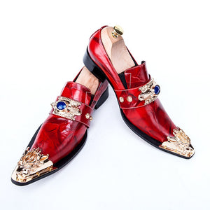 Men's Red  Italian  Pointed Toe Shoes