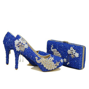 Royal Blue Pearl Shoes & Bags