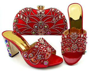 Crystal shoes & handbag set