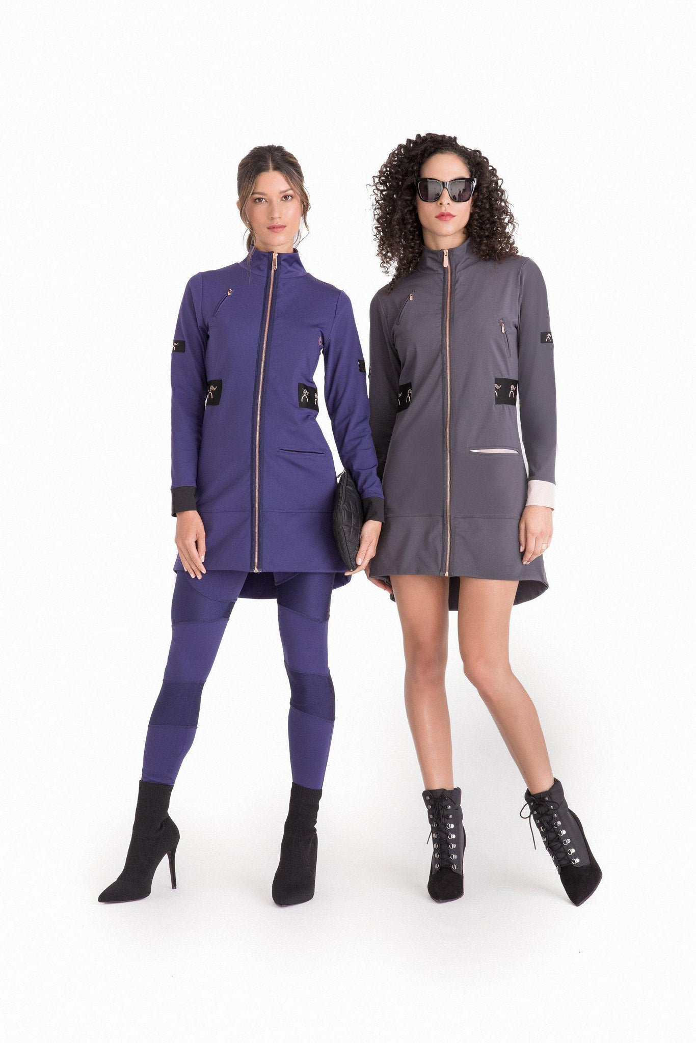 2 women with grey & purple Carry the Day Jacket