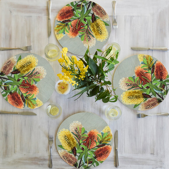 Banksia Blue - Australian Native Table Placemats - Coastal Banksia
